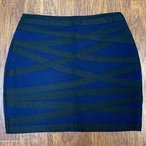 Express bandage skirt blue and black size medium